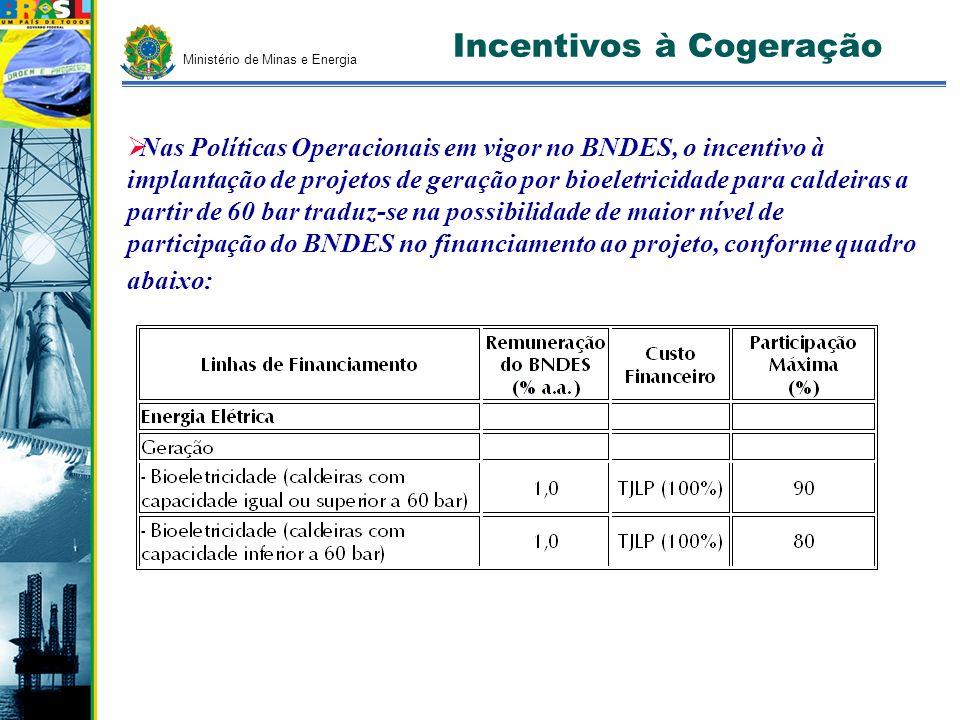 Ministério de Minas e Energia Incentivos à Cogeração Nas Políticas Operacionais em vigor no BNDES, o incentivo à implantação de projetos de geração po