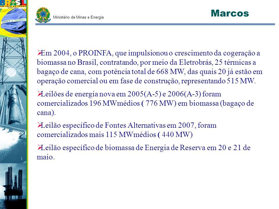 Ministério de Minas e Energia Marcos Em 2004, o PROINFA, que impulsionou o crescimento da cogeração a biomassa no Brasil, contratando, por meio da Ele