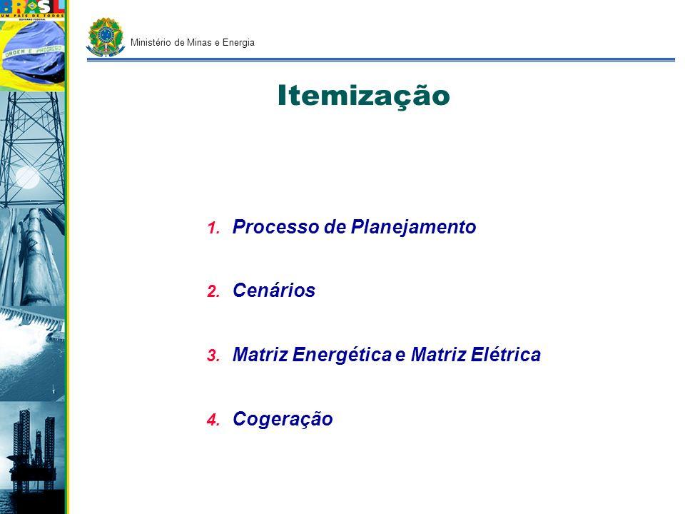 Itemização 1. 1. Processo de Planejamento 2. 2. Cenários 3. 3. Matriz Energética e Matriz Elétrica 4. 4. Cogeração Ministério de Minas e Energia
