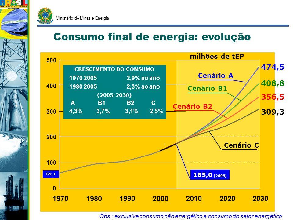 Ministério de Minas e Energia 0 250 500 750 1000 1250 1970198019902000201020202030, Obs.: inclusive autoprodução clássica/transportada e inclui conservação (progresso autônomo), excluindo contudo consumo setor energético Cenário A Cenário B1 Cenário B2 847,0 941,2 1.045,6 1.243,8 37,2 TWh CRESCIMENTO DO CONSUMO 1970 20056,7% ao ano 1980 20054,5% ao ano (2005-2030) A B1 B2 C 5,1% 4,3% 3,9% 3,4% Projeção de Consumo Final: Eletricidade 361,3 (2005) Cenário C