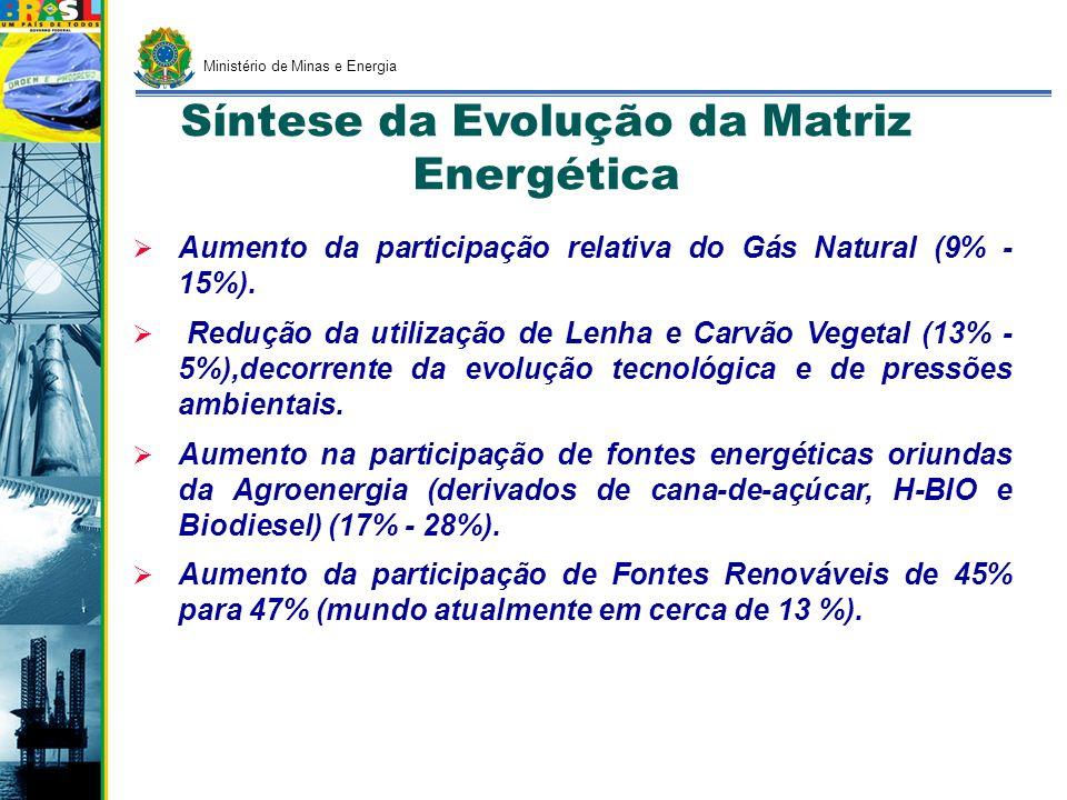 Síntese da Evolução da Matriz Energética Aumento da participação relativa do Gás Natural (9% - 15%). Redução da utilização de Lenha e Carvão Vegetal (