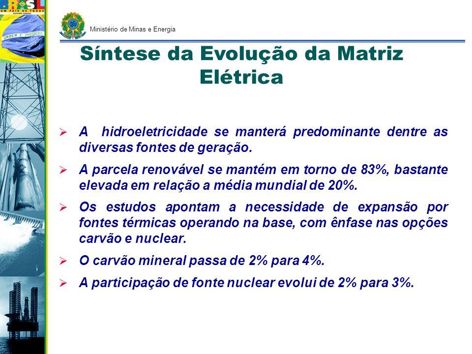 GERAÇÃO DE ENERGIA ELÉTRICA (GW) Fontes200520152030 Hidrelétricas Grande Porte (GW)68,699,0156,3 Térmica (GW)16,924,339,9 Gás Natural (GW)8,713,021,0 Nuclear (GW)2,03,37,3 Carvão (GW)1,42,56,0 Outras (GW)4,85,5 Alternativas (GW)1,45,520,3 PCH (GW)1,32,37,7 Eólicas-1,44,7 Biomassa0,11,87,9 Importação + Outras13,613,38,4 TOTAL100,5142,1224,9