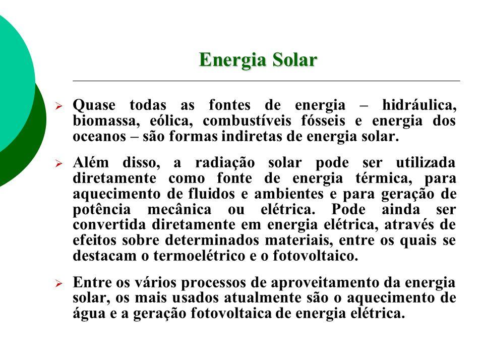Energia Solar Quase todas as fontes de energia – hidráulica, biomassa, eólica, combustíveis fósseis e energia dos oceanos – são formas indiretas de energia solar.