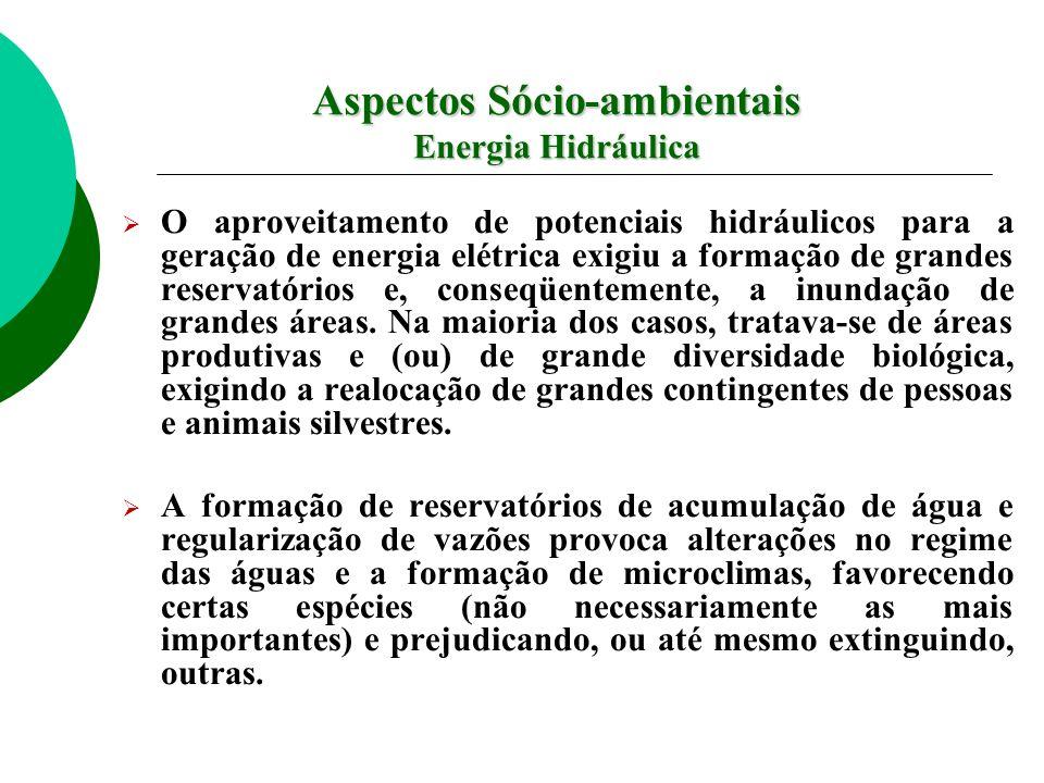 Aspectos Sócio-ambientais Energia Hidráulica O aproveitamento de potenciais hidráulicos para a geração de energia elétrica exigiu a formação de grandes reservatórios e, conseqüentemente, a inundação de grandes áreas.