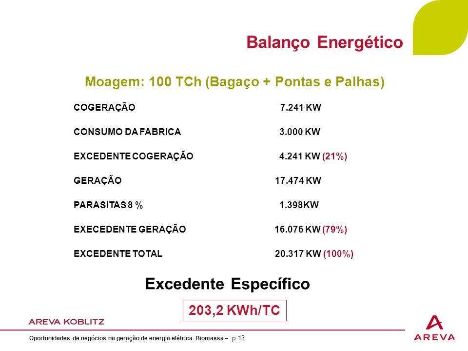 COGERAÇÃO 7.241 KW CONSUMO DA FABRICA 3.000 KW EXCEDENTE COGERAÇÃO 4.241 KW (21%) GERAÇÃO 17.474 KW PARASITAS 8 % 1.398KW EXECEDENTE GERAÇÃO 16.076 KW (79%) EXCEDENTE TOTAL 20.317 KW (100%) Moagem: 100 TCh (Bagaço + Pontas e Palhas) 203,2 KWh/TC Excedente Específico Balanço Energético Oportunidades de negócios na geração de energia elétrica- Biomassa – p.13