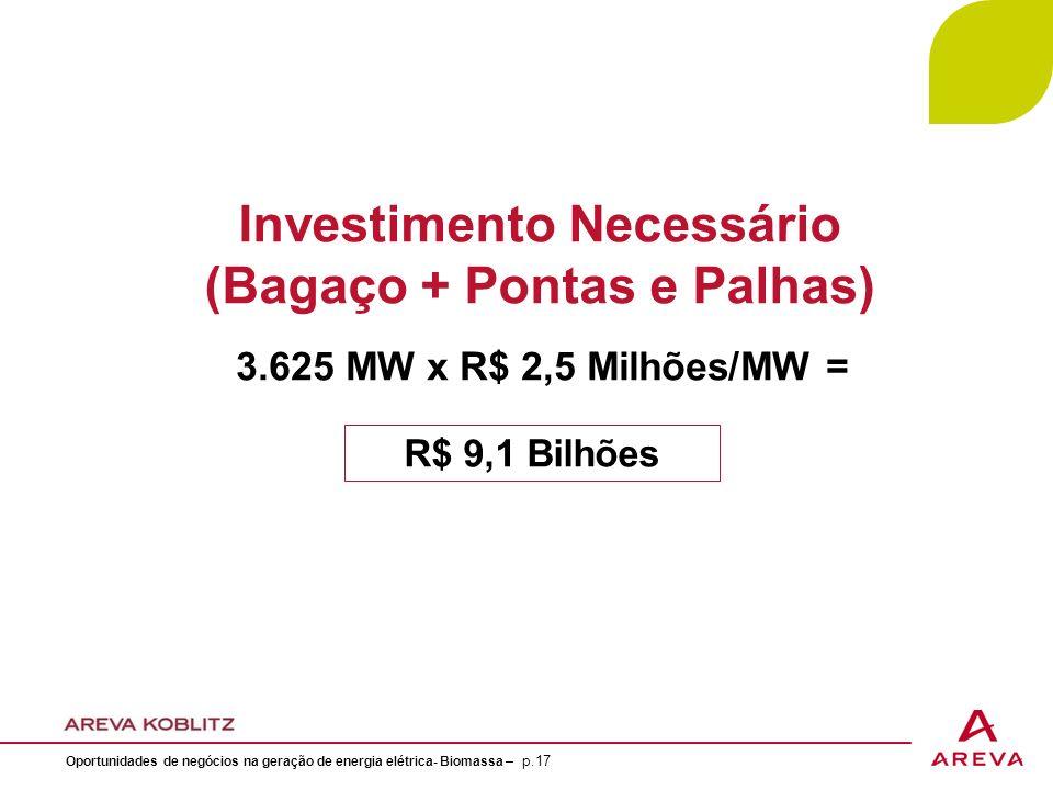Investimento Necessário (Bagaço + Pontas e Palhas) 3.625 MW x R$ 2,5 Milhões/MW = R$ 9,1 Bilhões Oportunidades de negócios na geração de energia elétrica- Biomassa – p.17