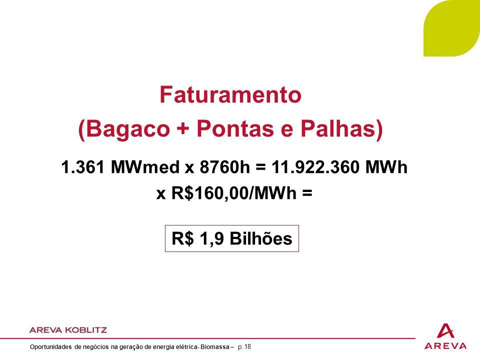 Faturamento (Bagaco + Pontas e Palhas) 1.361 MWmed x 8760h = 11.922.360 MWh x R$160,00/MWh = R$ 1,9 Bilhões Oportunidades de negócios na geração de energia elétrica- Biomassa – p.18