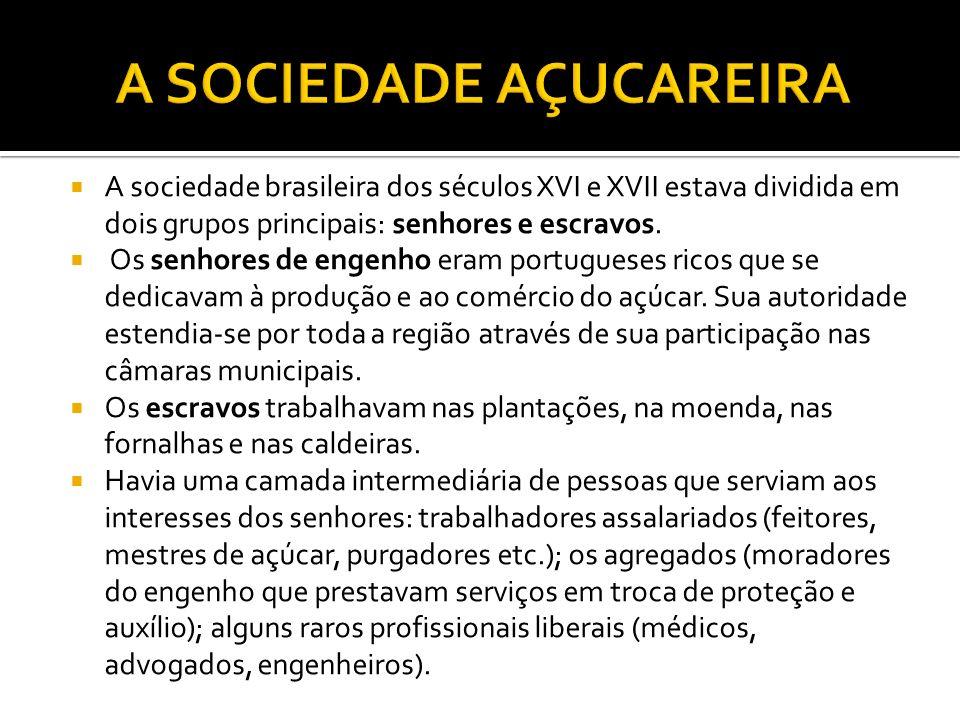 A sociedade brasileira dos séculos XVI e XVII estava dividida em dois grupos principais: senhores e escravos.