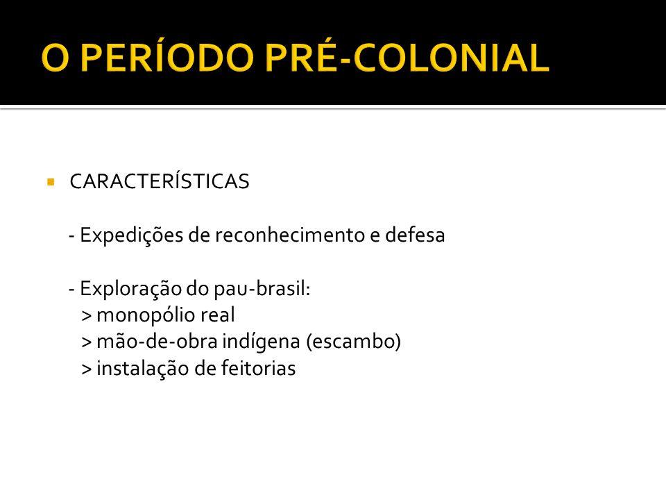 CARACTERÍSTICAS - Expedições de reconhecimento e defesa - Exploração do pau-brasil: > monopólio real > mão-de-obra indígena (escambo) > instalação de feitorias