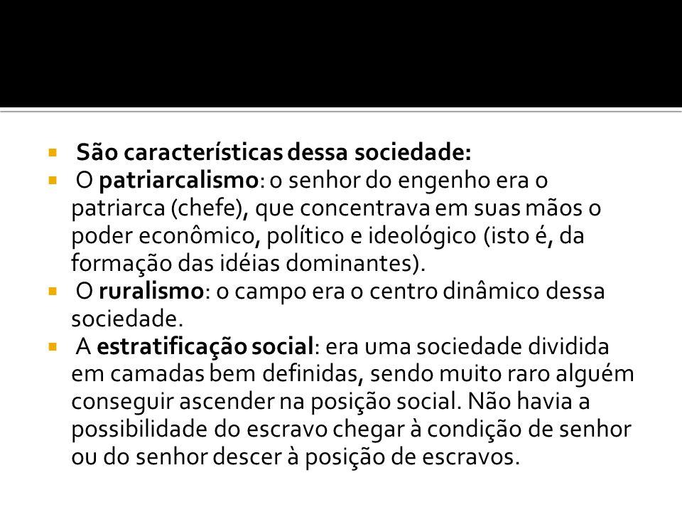 São características dessa sociedade: O patriarcalismo: o senhor do engenho era o patriarca (chefe), que concentrava em suas mãos o poder econômico, político e ideológico (isto é, da formação das idéias dominantes).