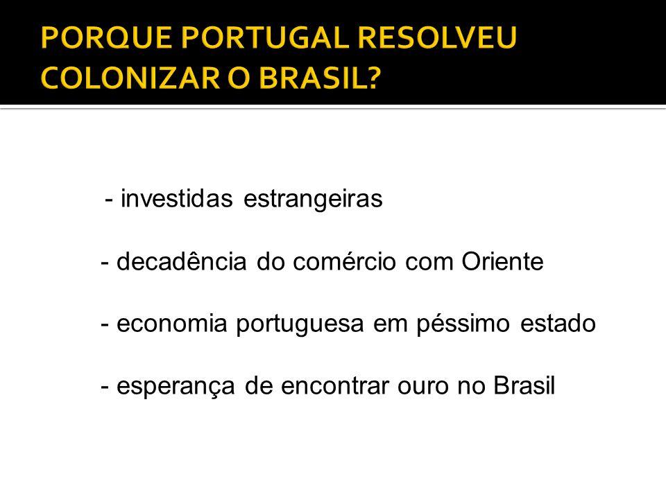 - investidas estrangeiras - decadência do comércio com Oriente - economia portuguesa em péssimo estado - esperança de encontrar ouro no Brasil