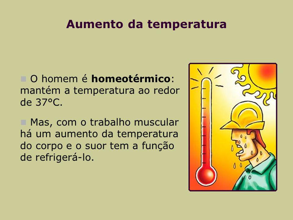 Aumento da temperatura O homem é homeotérmico: mantém a temperatura ao redor de 37°C. Mas, com o trabalho muscular há um aumento da temperatura do cor