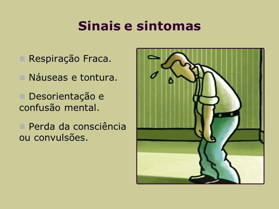 Sinais e sintomas Respiração Fraca. Náuseas e tontura. Desorientação e confusão mental. Perda da consciência ou convulsões.