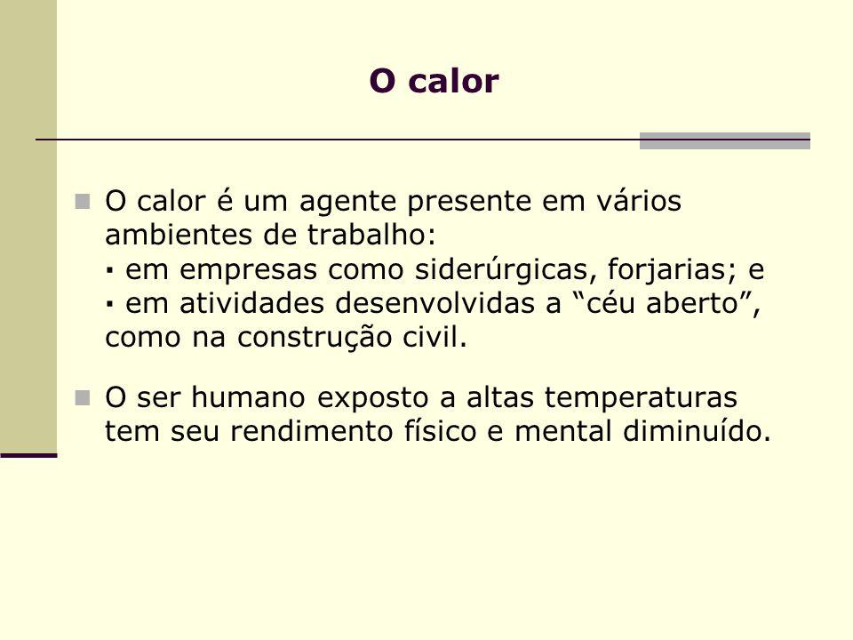 O calor O calor é um agente presente em vários ambientes de trabalho: · em empresas como siderúrgicas, forjarias; e · em atividades desenvolvidas a céu aberto, como na construção civil.