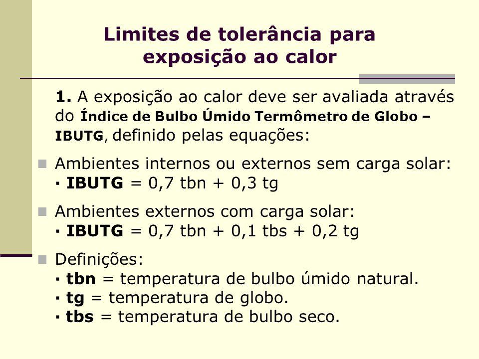 Limites de tolerância para exposição ao calor 1. A exposição ao calor deve ser avaliada através do Índice de Bulbo Úmido Termômetro de Globo – IBUTG,