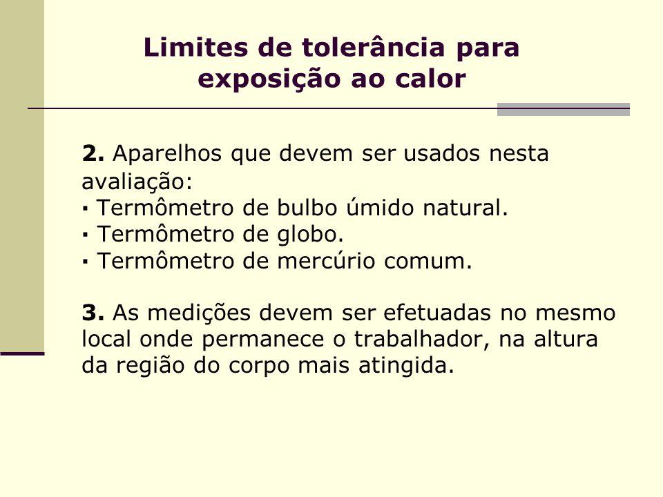 Limites de tolerância para exposição ao calor 2. Aparelhos que devem ser usados nesta avaliação: · Termômetro de bulbo úmido natural. · Termômetro de