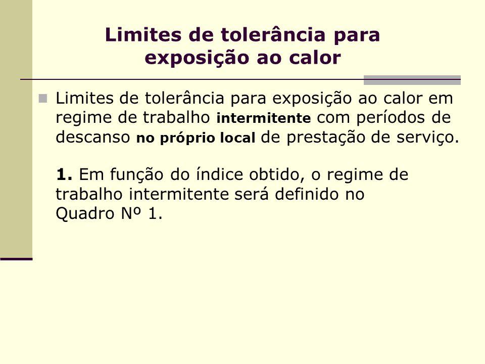 Limites de tolerância para exposição ao calor Limites de tolerância para exposição ao calor em regime de trabalho intermitente com períodos de descanso no próprio local de prestação de serviço.