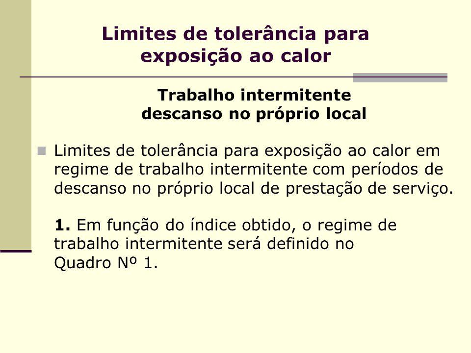 Limites de tolerância para exposição ao calor Trabalho intermitente descanso no próprio local Limites de tolerância para exposição ao calor em regime de trabalho intermitente com períodos de descanso no próprio local de prestação de serviço.