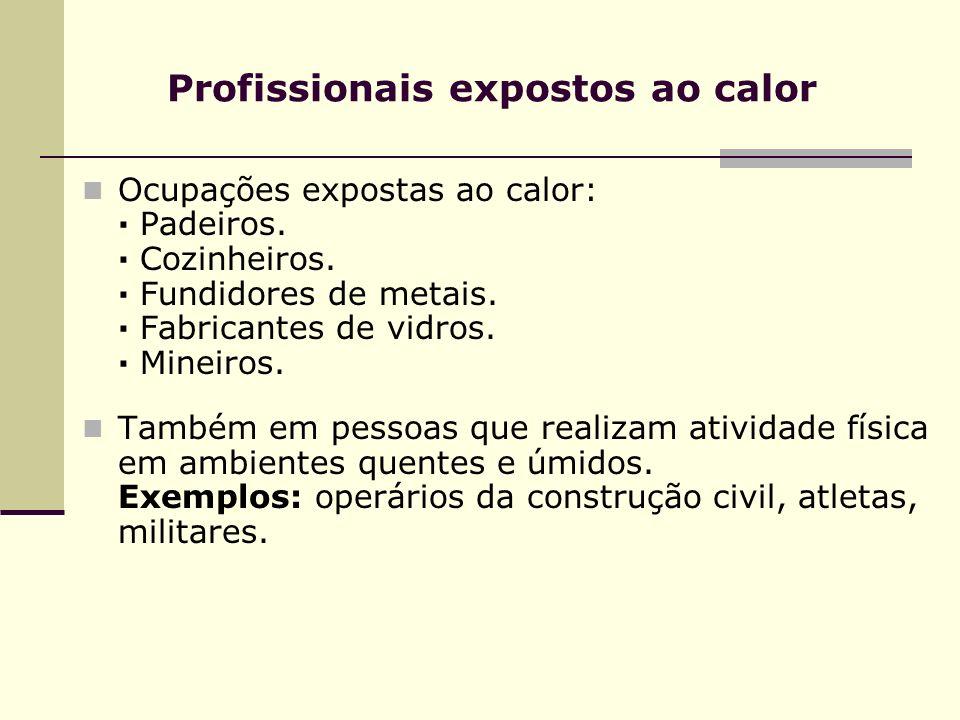 Profissionais expostos ao calor Ocupações expostas ao calor: · Padeiros. · Cozinheiros. · Fundidores de metais. · Fabricantes de vidros. · Mineiros. T