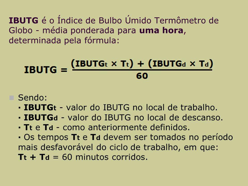 IBUTG é o Índice de Bulbo Úmido Termômetro de Globo - média ponderada para uma hora, determinada pela fórmula: Sendo: · IBUTG t - valor do IBUTG no local de trabalho.