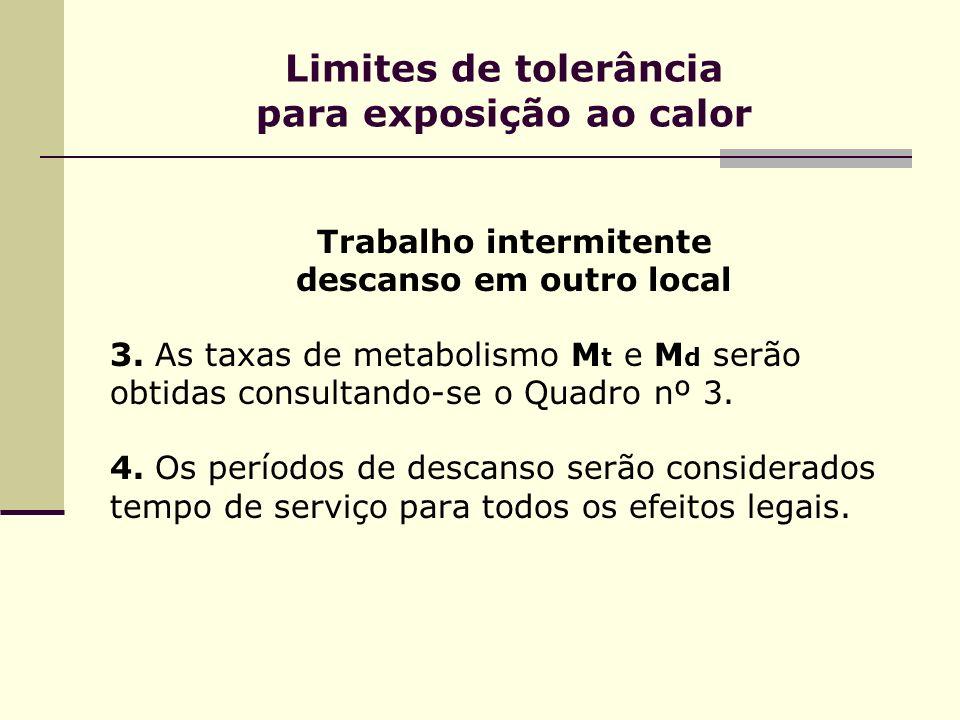 Limites de tolerância para exposição ao calor Trabalho intermitente descanso em outro local 3. As taxas de metabolismo M t e M d serão obtidas consult