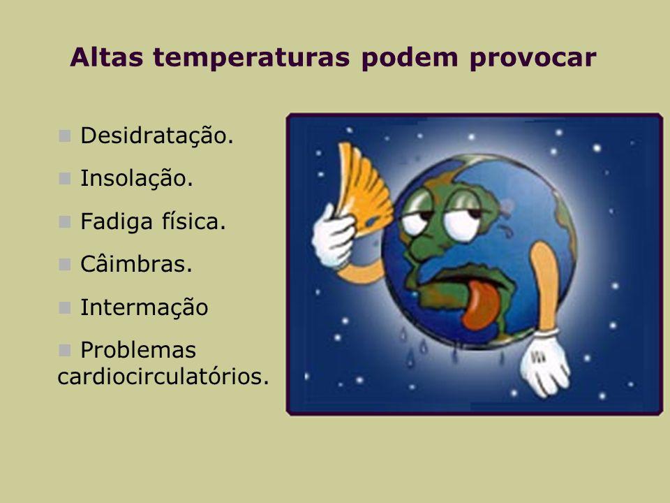 Altas temperaturas podem provocar Desidratação. Insolação. Fadiga física. Câimbras. Intermação Problemas cardiocirculatórios.