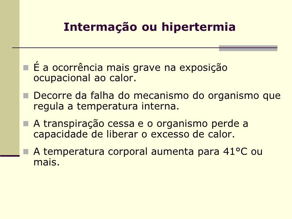 Intermação ou hipertermia É a ocorrência mais grave na exposição ocupacional ao calor. Decorre da falha do mecanismo do organismo que regula a tempera