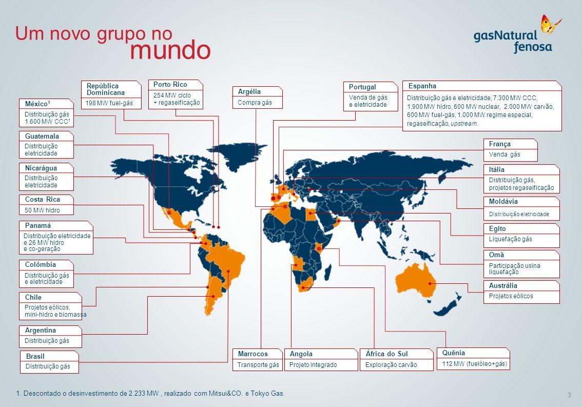 3 1. Descontado o desinvestimento de 2.233 MW, realizado com Mitsui&CO. e Tokyo Gas. Um novo grupo no mundo Distribuição gás 1.600 MW CCC 1 México 1 D