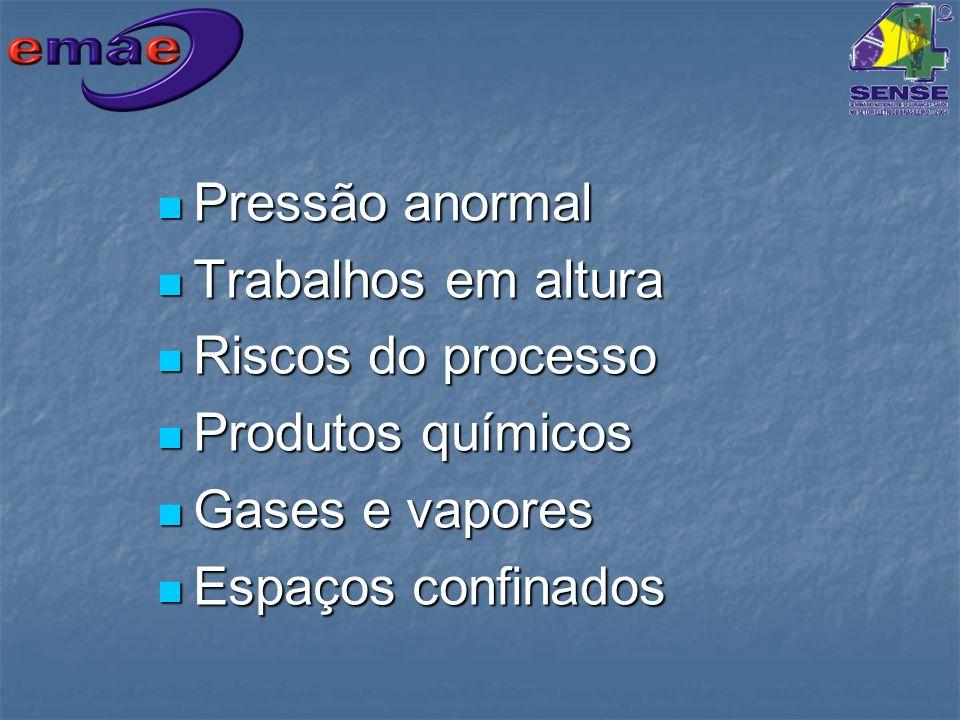 Pressão anormal Pressão anormal Trabalhos em altura Trabalhos em altura Riscos do processo Riscos do processo Produtos químicos Produtos químicos Gase