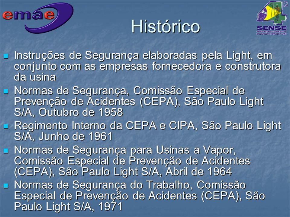 Histórico Instruções de Segurança elaboradas pela Light, em conjunto com as empresas fornecedora e construtora da usina Instruções de Segurança elabor