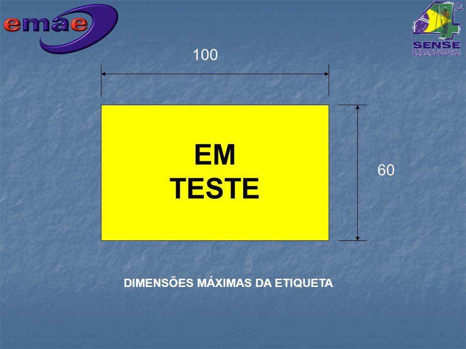 EM TESTE 100 60 DIMENSÕES MÁXIMAS DA ETIQUETA