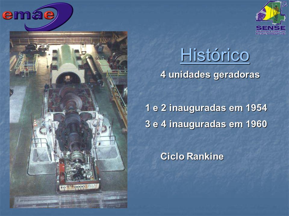 4 unidades geradoras 1 e 2 inauguradas em 1954 1 e 2 inauguradas em 1954 3 e 4 inauguradas em 1960 3 e 4 inauguradas em 1960 Ciclo Rankine Histórico