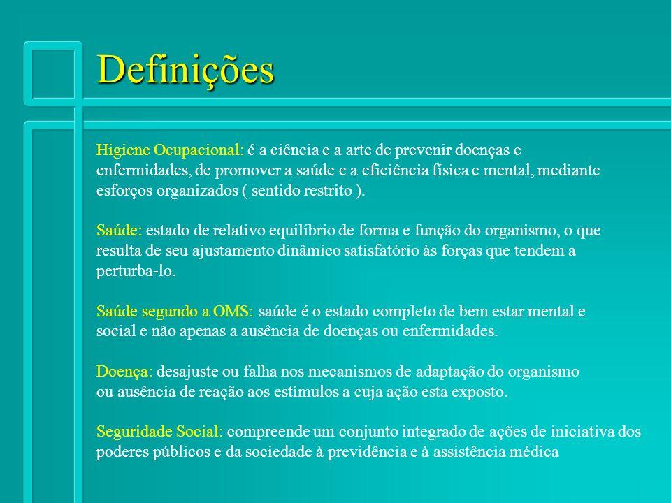 Definições Higiene Ocupacional: é a ciência e a arte de prevenir doenças e enfermidades, de promover a saúde e a eficiência física e mental, mediante