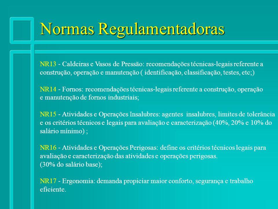 Normas Regulamentadoras NR13 - Caldeiras e Vasos de Pressão: recomendações técnicas-legais referente a construção, operação e manutenção ( identificaç