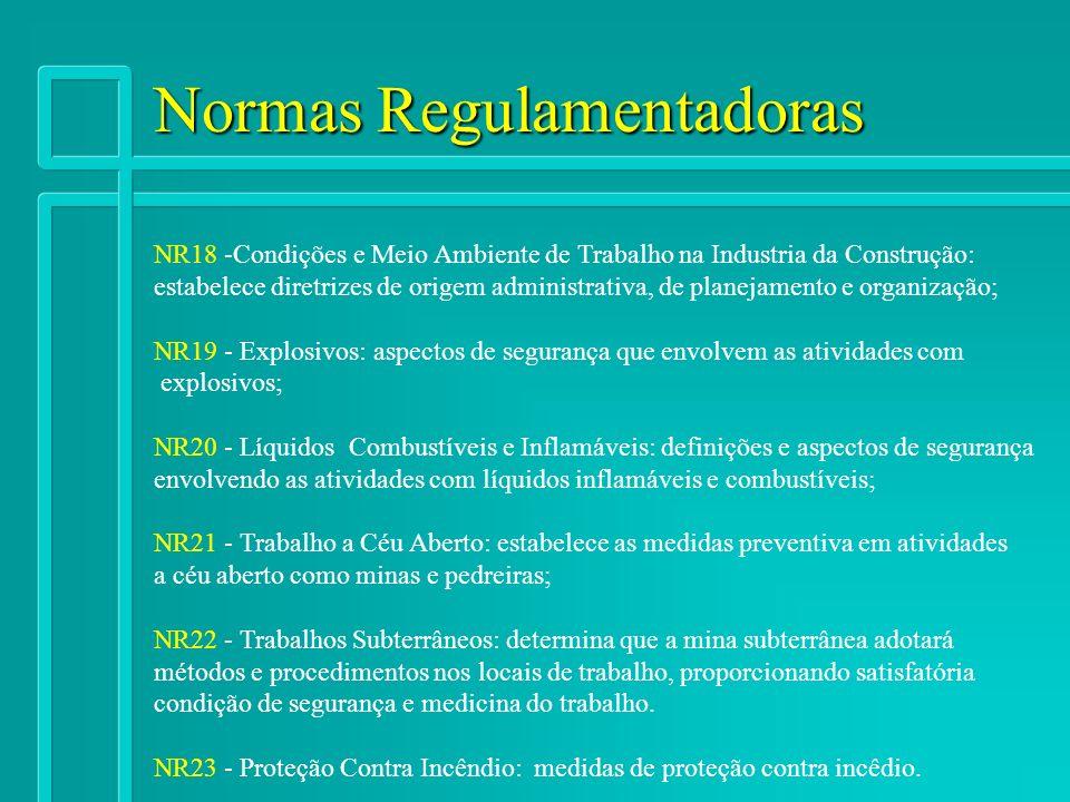 Normas Regulamentadoras NR18 -Condições e Meio Ambiente de Trabalho na Industria da Construção: estabelece diretrizes de origem administrativa, de pla