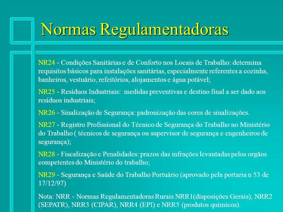 Normas Regulamentadoras NR24 - Condições Sanitárias e de Conforto nos Locais de Trabalho: determina requisitos básicos para instalações sanitárias, es