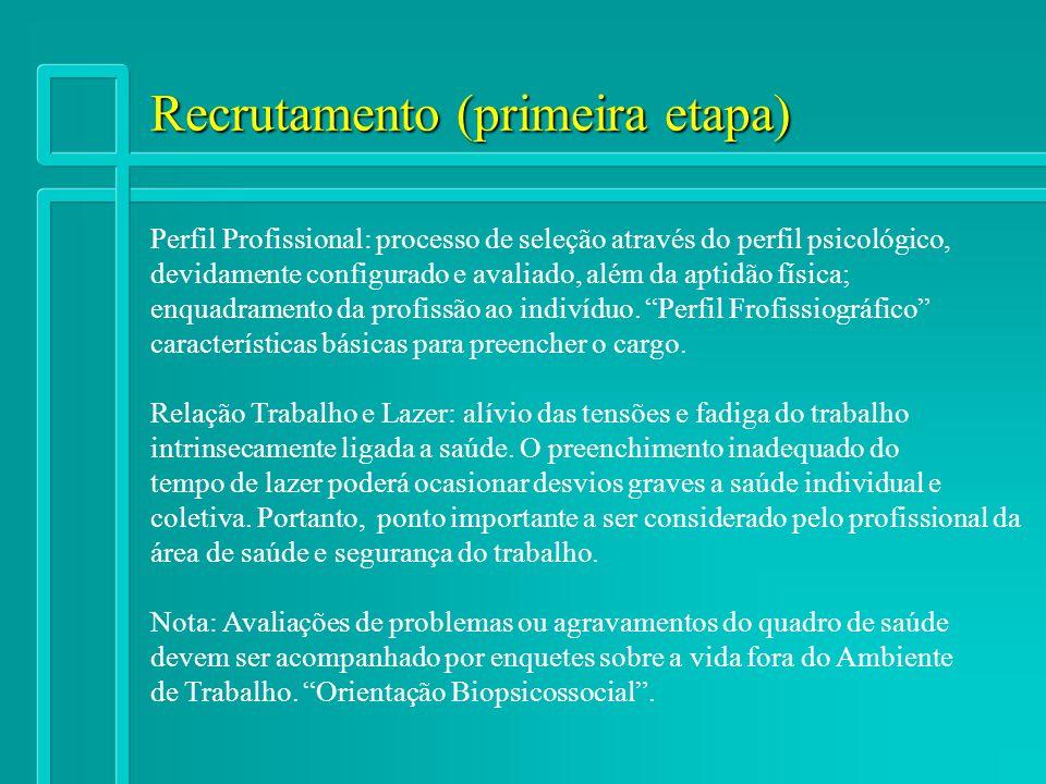 Recrutamento (primeira etapa) Perfil Profissional: processo de seleção através do perfil psicológico, devidamente configurado e avaliado, além da apti