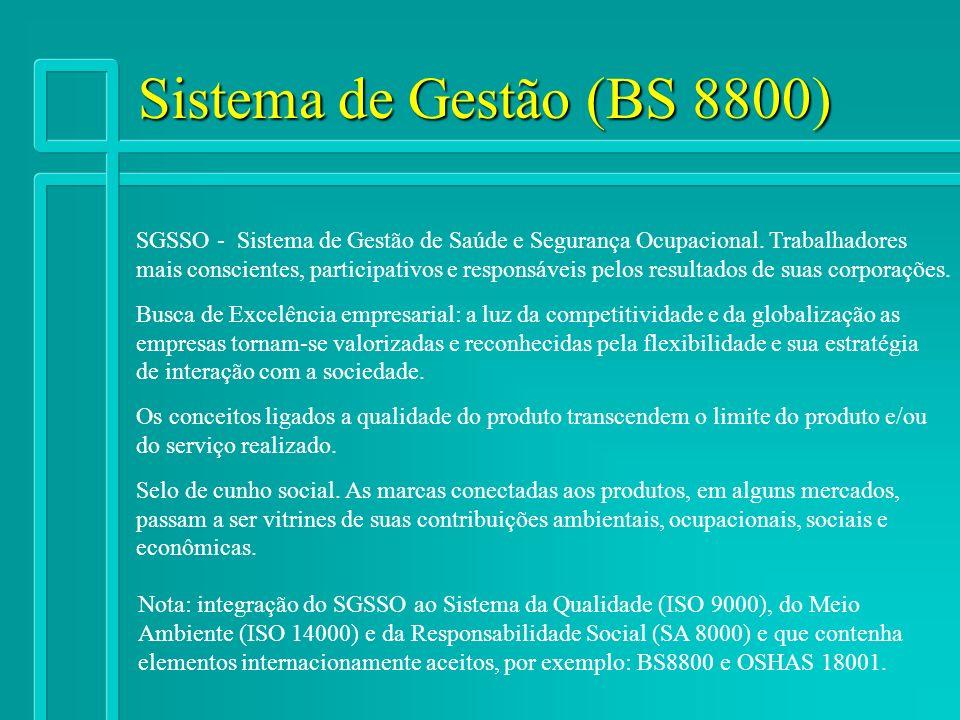 Sistema de Gestão (BS 8800) SGSSO - Sistema de Gestão de Saúde e Segurança Ocupacional. Trabalhadores mais conscientes, participativos e responsáveis