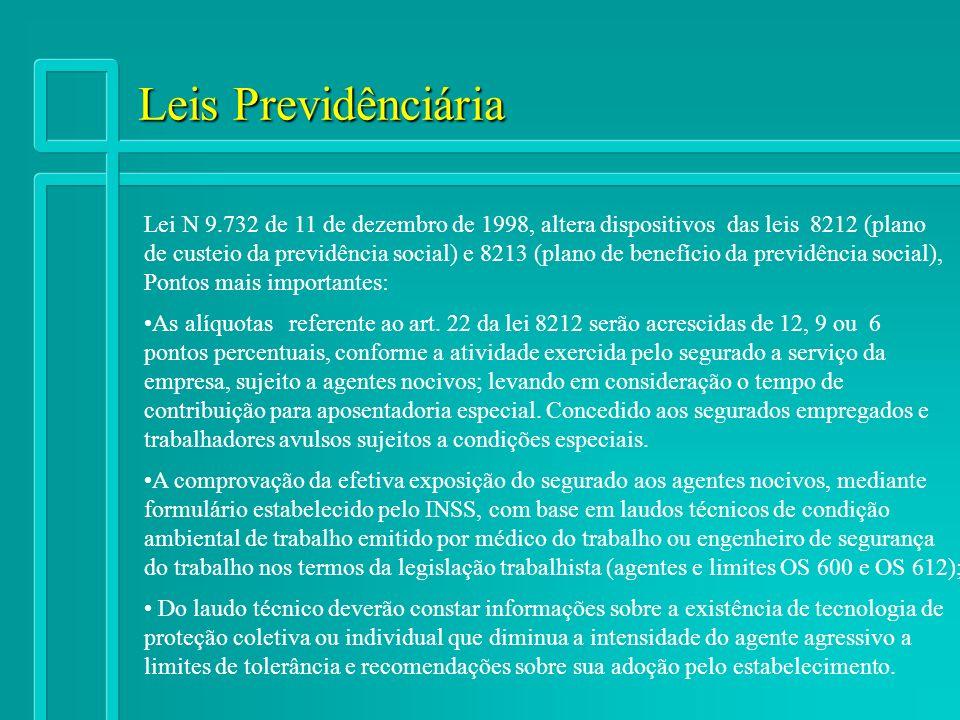 Leis Previdênciária Lei N 9.732 de 11 de dezembro de 1998, altera dispositivos das leis 8212 (plano de custeio da previdência social) e 8213 (plano de