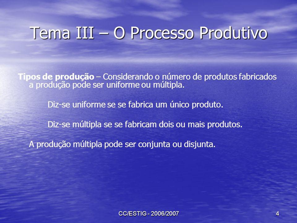 CC/ESTIG - 2006/20074 Tema III – O Processo Produtivo Tipos de produção – Considerando o número de produtos fabricados a produção pode ser uniforme ou