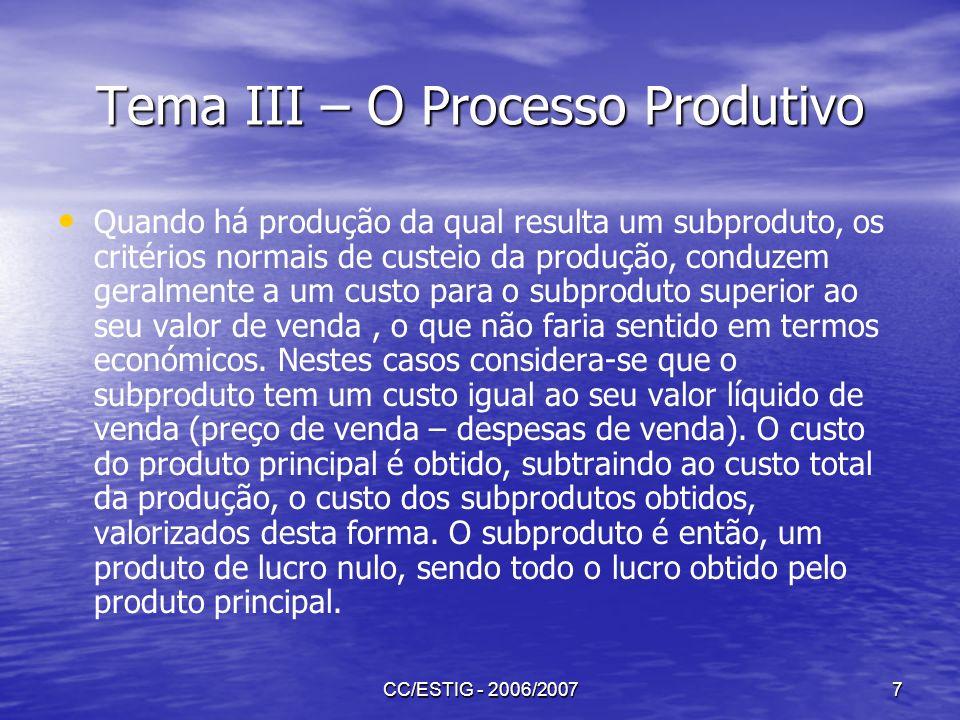 CC/ESTIG - 2006/20077 Tema III – O Processo Produtivo Quando há produção da qual resulta um subproduto, os critérios normais de custeio da produção, c
