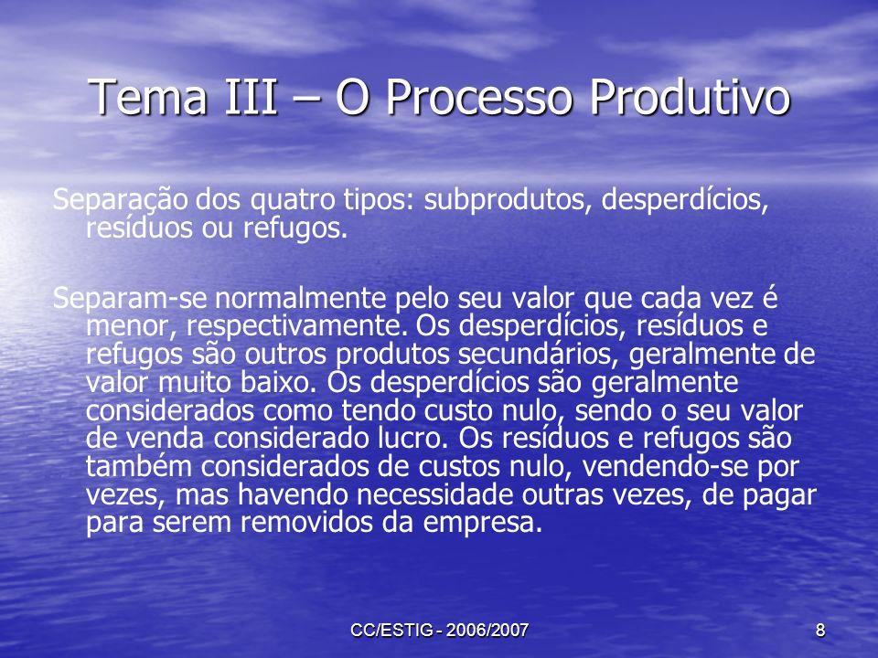 CC/ESTIG - 2006/20078 Tema III – O Processo Produtivo Separação dos quatro tipos: subprodutos, desperdícios, resíduos ou refugos. Separam-se normalmen