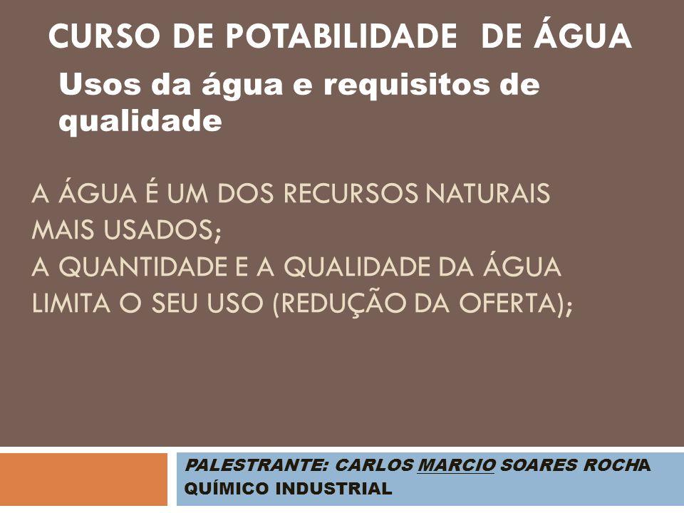 PALESTRANTE: CARLOS MARCIO SOARES ROCHA QUÍMICO INDUSTRIAL Usos da água Abastecimento humano Abastecimento industrial Irrigação Geração de energia elétrica Navegação Assimilação e transporte de poluentes Preservação da flora e fauna Aqüicultura Recreação CURSO DE POTABILIDADE DE ÁGUA