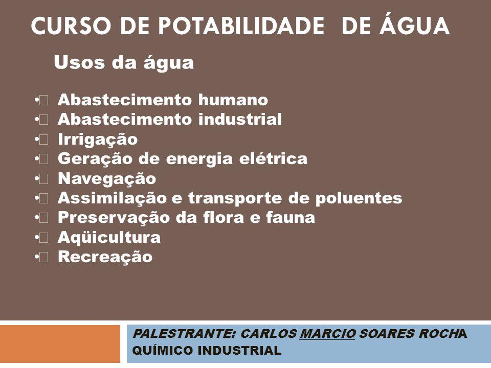 PALESTRANTE: CARLOS MARCIO SOARES ROCHA QUÍMICO INDUSTRIAL Usos da água Abastecimento humano Abastecimento industrial Irrigação Geração de energia elé