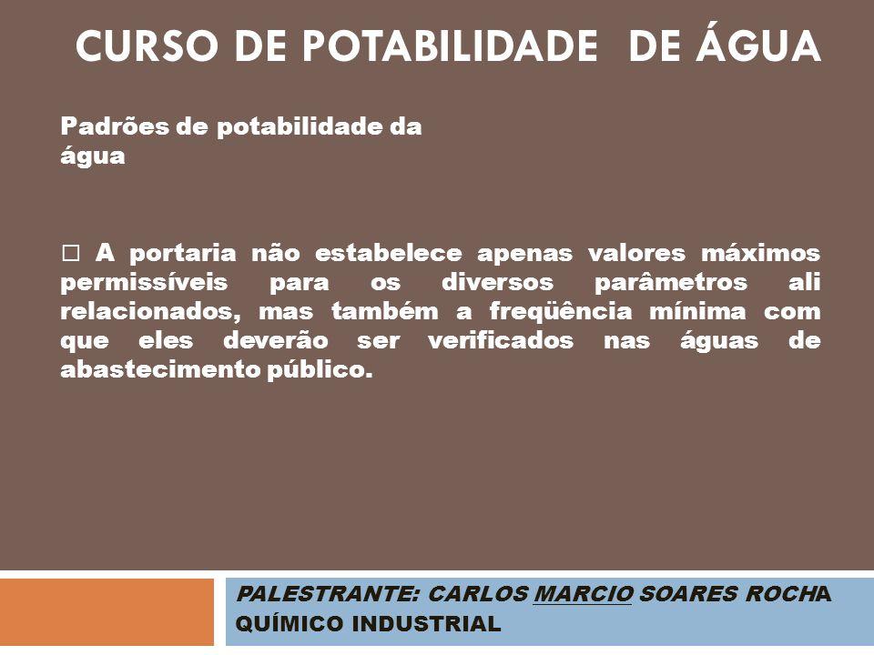 PALESTRANTE: CARLOS MARCIO SOARES ROCHA QUÍMICO INDUSTRIAL Padrões de potabilidade da água CURSO DE POTABILIDADE DE ÁGUA A portaria não estabelece ape