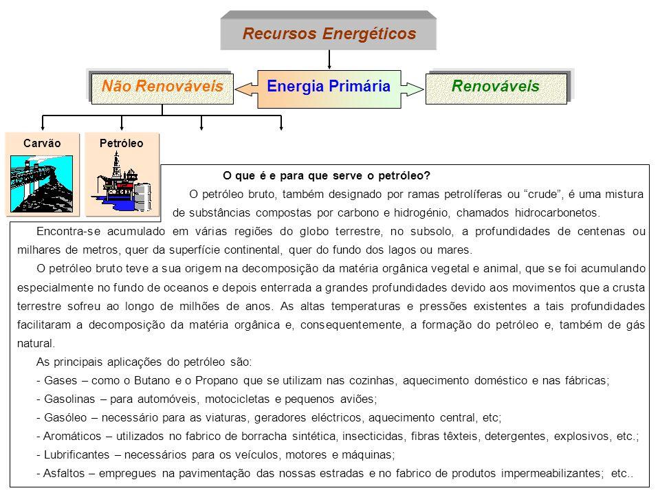 PetróleoCarvão Energia Primária Não RenováveisRenováveis Recursos Energéticos O que é e para que serve o petróleo? O petróleo bruto, também designado
