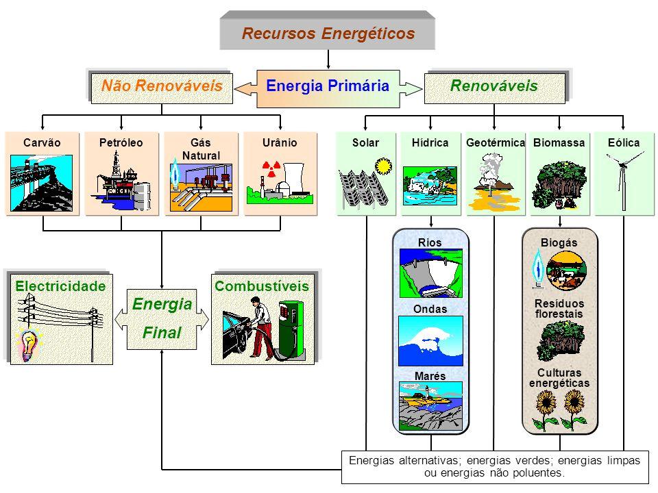 PetróleoCarvão Energia Primária Não RenováveisRenováveis Recursos Energéticos Gás Natural UrânioGeotérmicaSolarHídricaBiomassaEólica Biogás Resíduos f