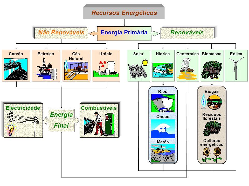 PetróleoGeotérmicaCarvão Recursos Energéticos Energia Primária Não RenováveisRenováveis Gás Natural UrânioSolarHídricaBiomassaEólica Biogás Resíduos f