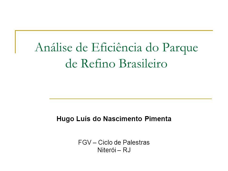Estudo de caso Objetivo: Analisar a eficiência técnica do parque de refino nacional no período de 1992 a 2004 Ferramenta: Análise Envoltória de Dados Avalia a eficiência relativa de unidades produtivas (DMUs).