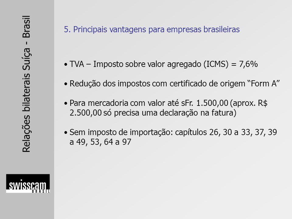 Relações bilaterais Suíça - Brasil TVA – Imposto sobre valor agregado (ICMS) = 7,6% Redução dos impostos com certificado de origem Form A Para mercado